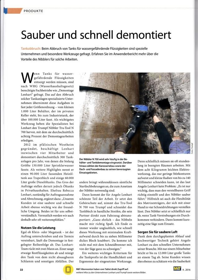 Auszug aus M&T Metallhandwerk - Ausgabe 4.2016 - Blatt 1